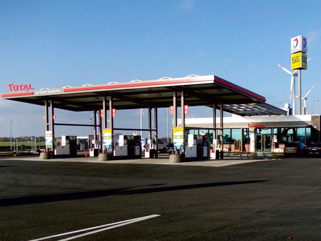 Außenaufnahme der von Z-Bau errichteten Total-Tankstelle in Geilenkirchen